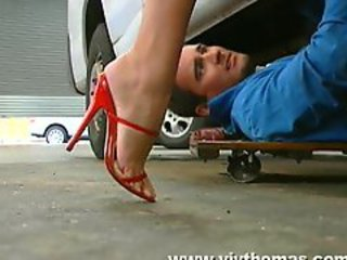 Girl in amazing red heels is fucked unconnected with his meat