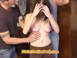 TEEN school girl in a SWING gets 3 CREAM PIES!