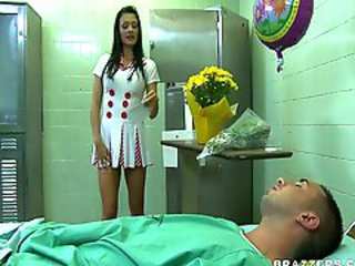 Sexy Nurse Aletta, who craves a cock in her ass, teases sluggish patient