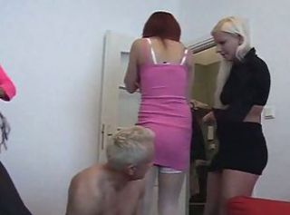 3 young woman femdom rub-down the superannuated guy