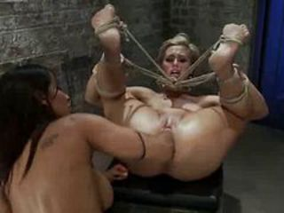 Cutie gets lesson of bondage and fisting