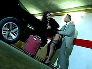 sexy milf gets panting in the parking lot by her boss