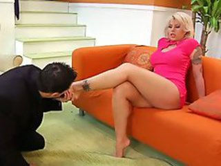 Brooke Haven gets her hot butt licked clean and her sexy feet tongued