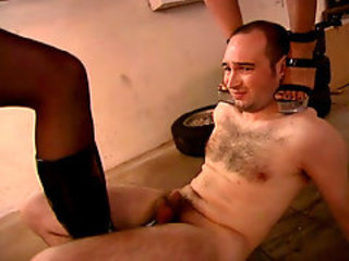Slave gets tortured in the garage!