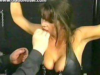 Brunette mature getting spanked by her master..