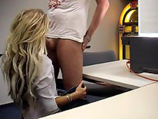 Chick with great blonde hair banged in office