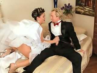 Bridal bitch Claire Dames flicks her clit in her wedding dress and gets nailed