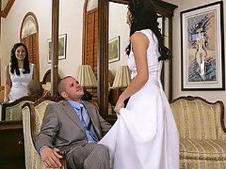Horny brunette bride gets naile away from a guest