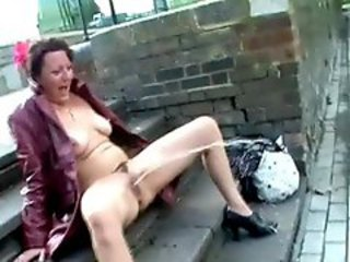 Upskirt public masturbation and nude outdoor..