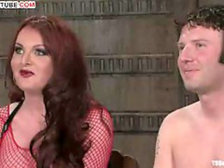 BDSM sex with tranny in overheated fishnet