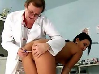Girl in the doctors office for gyno exam