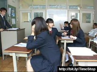 Japanese Stop Time School Girls