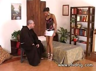 Italian Priest Tries To Rescue Ebony Bitch Off..