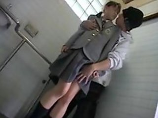 Cute asian teen sucking in the bathroom