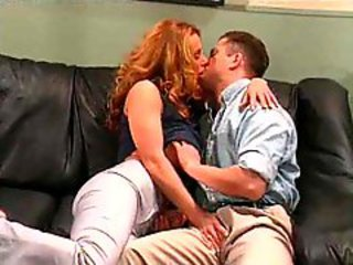 Big titty redhead milf blows and fucks