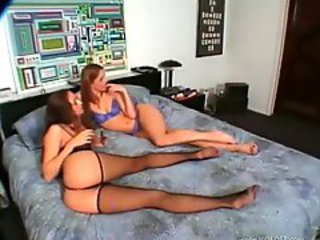 Lesbian threesome includes a French maid