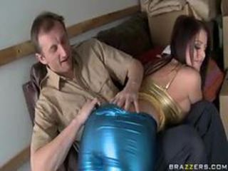 Busty piece of baggage in shiny clothes loves big cock