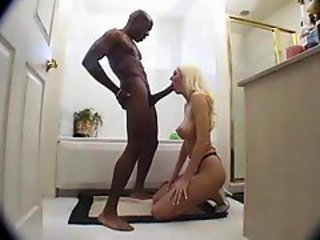Blonde sucks big black dick