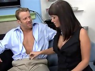 Brunette secretary Carrie Ann seduces her boss