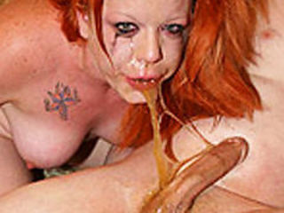 Nasty deep throat slut covered in pee and cum