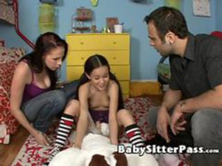 Couple and a babysitter