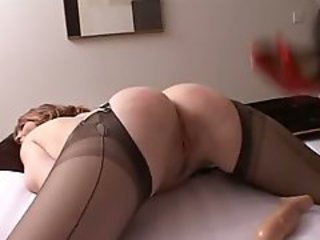 Bitch In Nylon Stockings Gets Spanked And Dildo Fucked