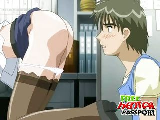 Stockinged hentai seductress stripping and teasing a dude with her massive knockers