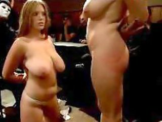 2 Busty Girl Kissing Sucking Nipples While Tortured With Shocker By Mistress In Front Of People In The Restaurant