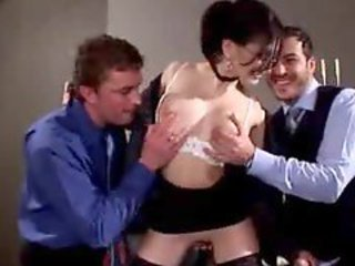 Super hot secretary takes four guys