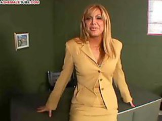 Busty tranny and a man fuck each other in turn