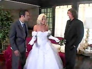 Babe in wedding dressed unfurnished added to double fucked