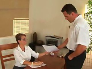 Busty lady fucked in her office