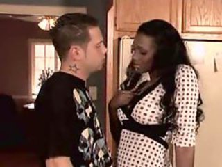 Black housewife seduces him in her kitchen