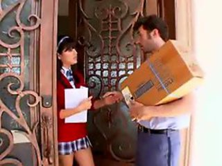 Delivery Guy Gets Hot Schoolgirl!