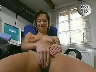 Hot office worker fingers herself then sucks cock