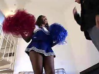 Black cheerleader gets white cock