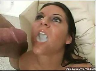 This horny babe has three cocks to suck and gets a huge load