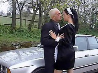 French maid fucked outdoors in the ass