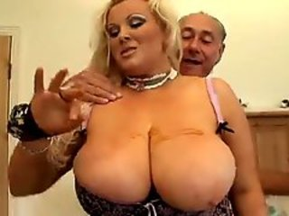 Chubby blonde with large breasts roughly pounded