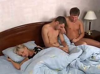 Two guys fucks quiescent blonde babe