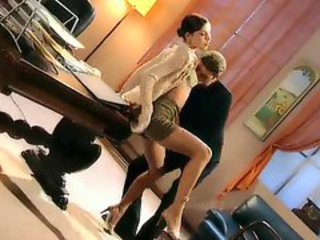 Elegant wife cheats in the office