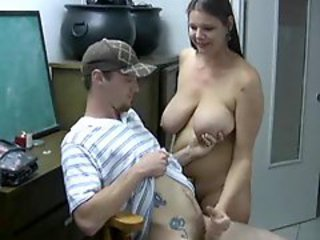 Chubby chick gives him a opinionated handjob