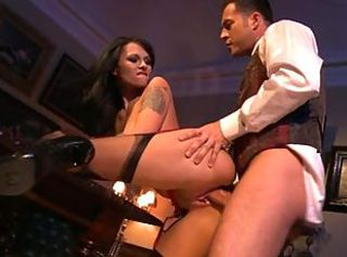 Hot maid Dominno gets fucked damn hard in different poses
