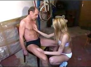 Dirty Old Guy Fuck a Young Blond