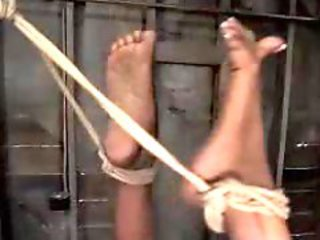 Black Girl Getting Hogtied Pussy Stimulated With Vibrator On A Box In The Dungeon