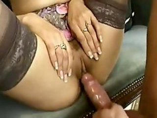 Young European with perky tits lets them bang her
