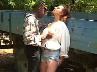 Black guy nails while girl outdoors