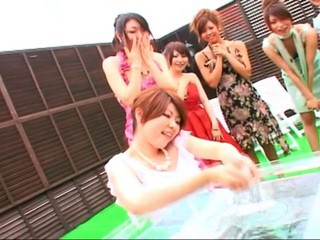 Japanese girls lotion pool