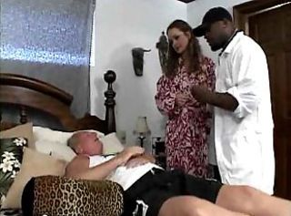 Horny wife sucking black prick of her husband doctor