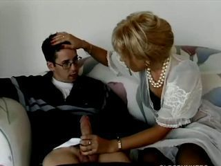 Blonde milf buttsex with young m
